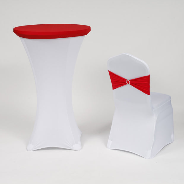 Spandex Cocktail Table Cover and Chair Cover Red and White Christmas