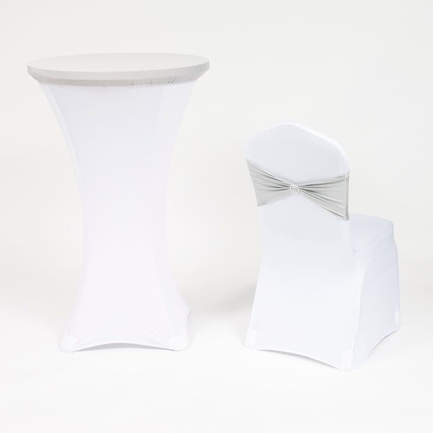 Silver and White Spandex Cocktail Table Cover with Banquet Chair