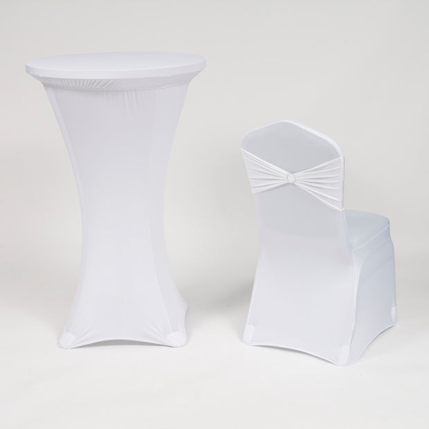 White Spandex Cocktail Table Cover and Chair Cover