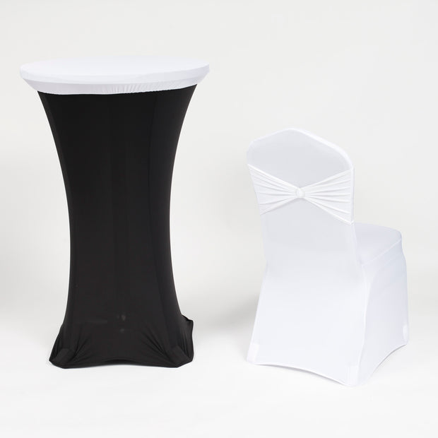 White and Black Theme Cocktail Table Cover with White on White Chair Cover