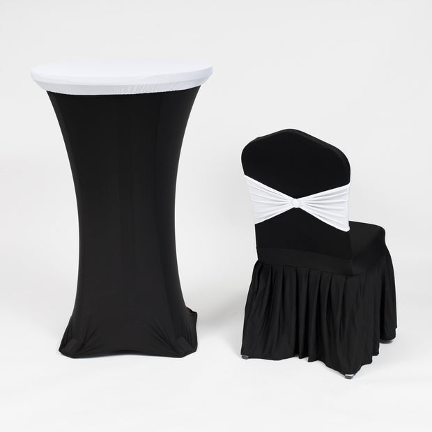 White and Black Theme Cocktail Table Cover with White on Black Chair Cover