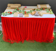 Christmas red tulle, hessian boho and lace table setting