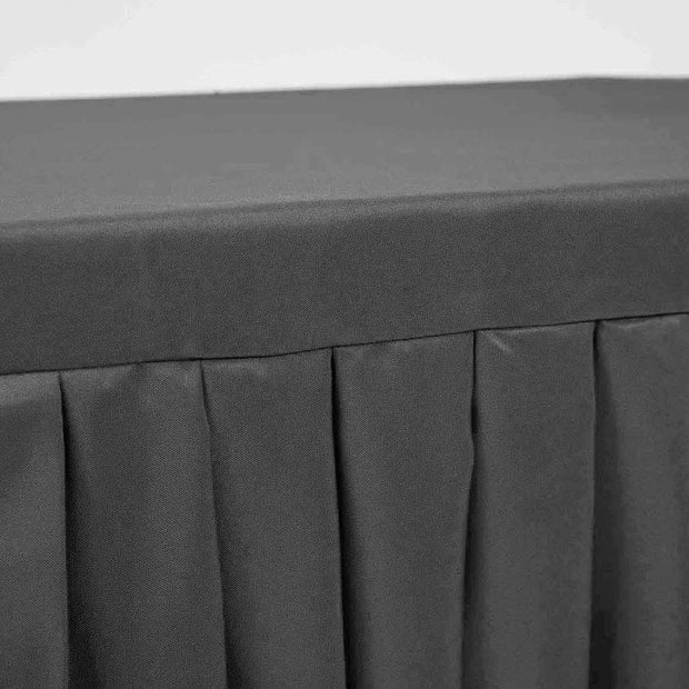 Black Fitted Tablecloth with Pleated Table Skirting for 6ft Trestle Tables Edging