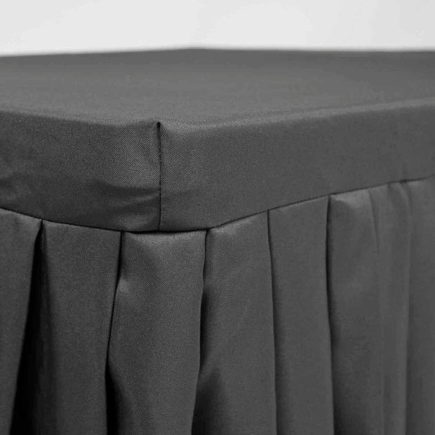 Black Fitted Tablecloth with Pleated Table Skirting for 6ft Trestle Tables Edging B