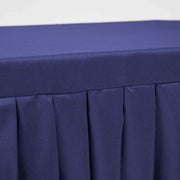 Navy Fitted Tablecloth with Pleated Table Skirting for 6ft Trestle Tables Close Up