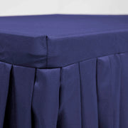 Navy Fitted Tablecloth with Pleated Table Skirting for 6ft Trestle Tables Side angle