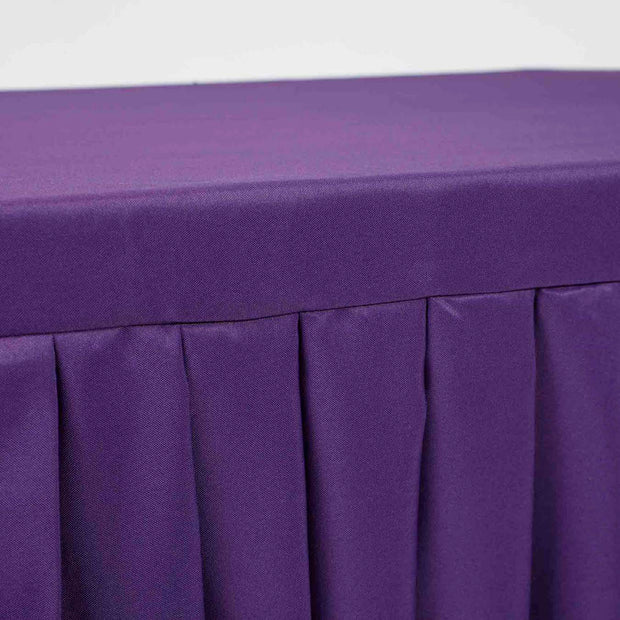 Purple Fitted Tablecloth with Pleated Table Skirting for 6ft Trestle Tables Close Up
