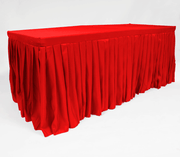 Red Fitted Tablecloth with Pleated Table Skirting for 6ft Trestle Tables