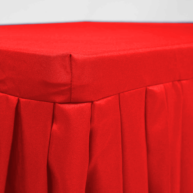 Red Fitted Tablecloth with Pleated Table Skirting for 6ft Trestle Tables Close Up