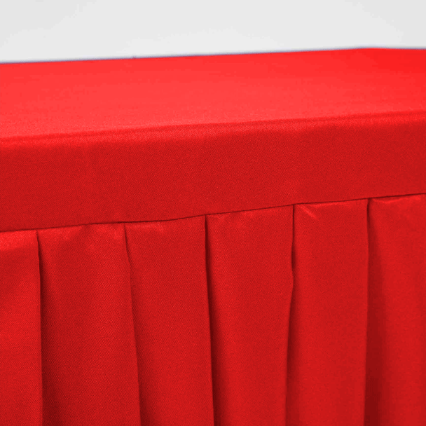 Red Fitted Tablecloth with Pleated Table Skirting for 6ft Trestle Tables Close Up 2