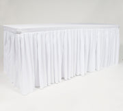 White Fitted Tablecloth with Pleated Table Skirting for 6ft Trestle Tables