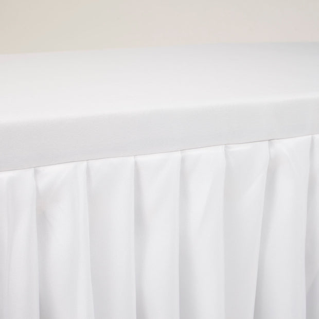 White Fitted Tablecloth with Pleated Table Skirting for 6ft Trestle Tables Close Up