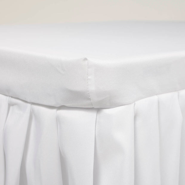 White Fitted Tablecloth with Pleated Table Skirting for 6ft Trestle Tables Side View