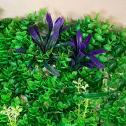 Greenery Wall - Box Hedge, Grass Shoots & Purple, Pink, White Flowers Close A
