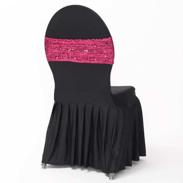 Hot Pink Sequin Lycra Chair Band Sparkle Stretch