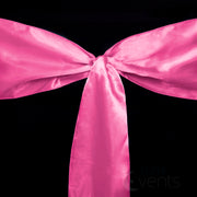 Satin Chair Sashes Detail - Hot Pink close up