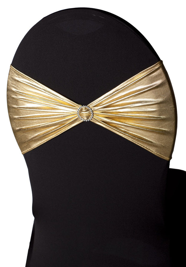 Lycra Chair Bands oblique view - Metallic Gold