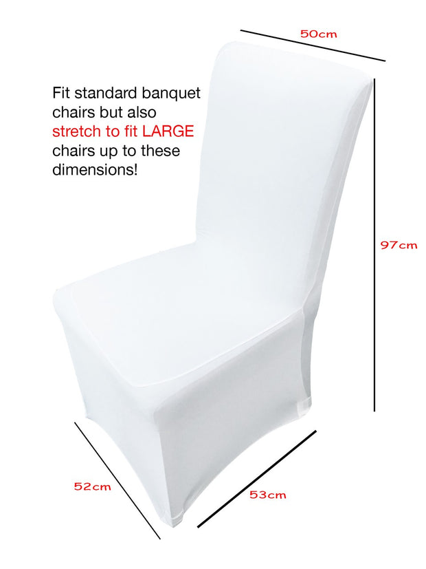 White Lycra Chair Covers dimensions (170gsm)