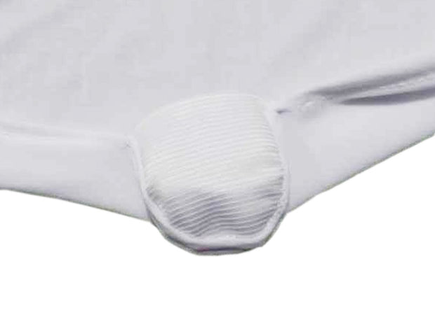 White Lycra Chair Covers foot pocket close up (170gsm)