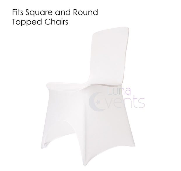 White Lycra Wedding Chair Covers Square Back (170gsm)