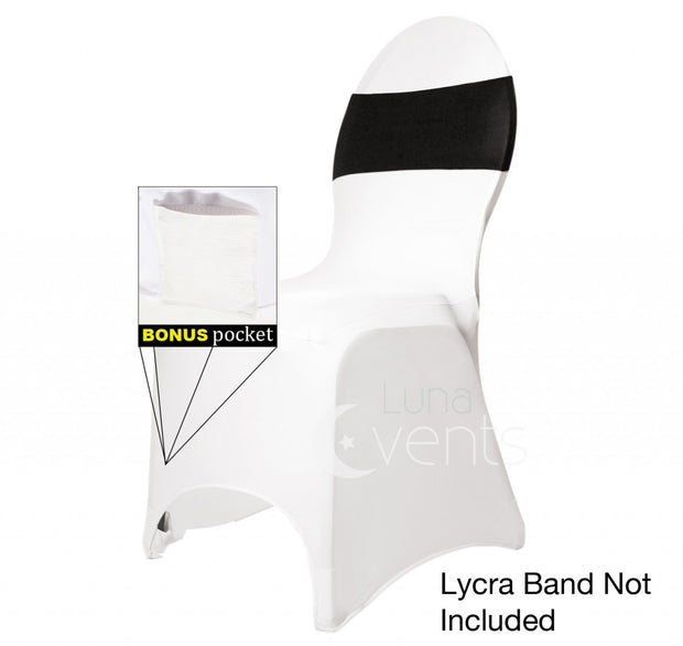 White Lycra Chair Cover with Black Lycra Chair Band