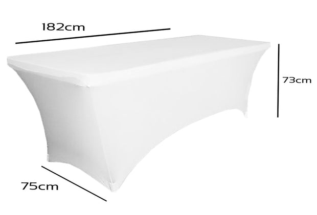 White Lycra Fitted Tablecloth (6ft) Dimensions