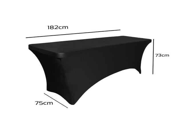 Black Lycra Fitted Tablecloth (6ft) - High Arch - Dimensions