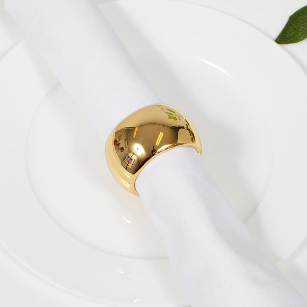 Dark Gold Napkin Ring - Classic Luxe Style Close Up