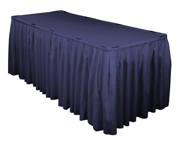 Navy Table Skirting (3m) + BONUS Skirting Clips