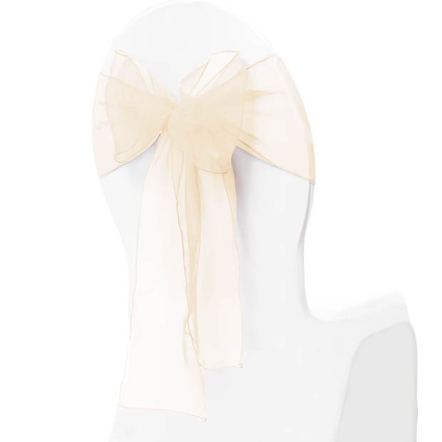 Organza Chair Sashes close up - Ivory