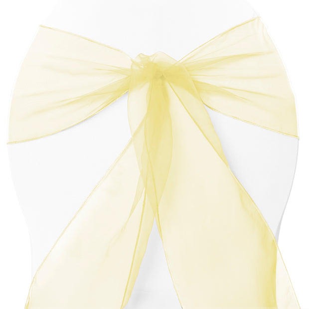 Organza Chair Sashes - Pale Yellow close up