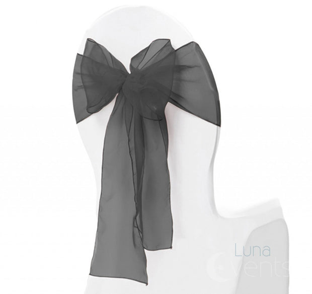 Organza Chair Sash oblique view - Black