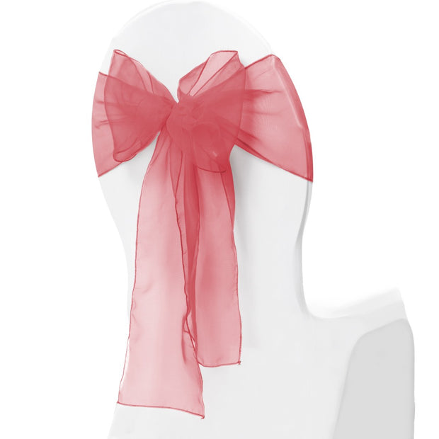 Organza Chair Sash oblique view - Coral