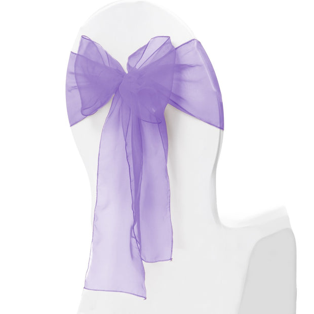 Organza Chair Sash oblique view - Lavender