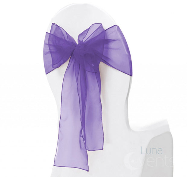 Organza Chair Sash oblique view - Purple