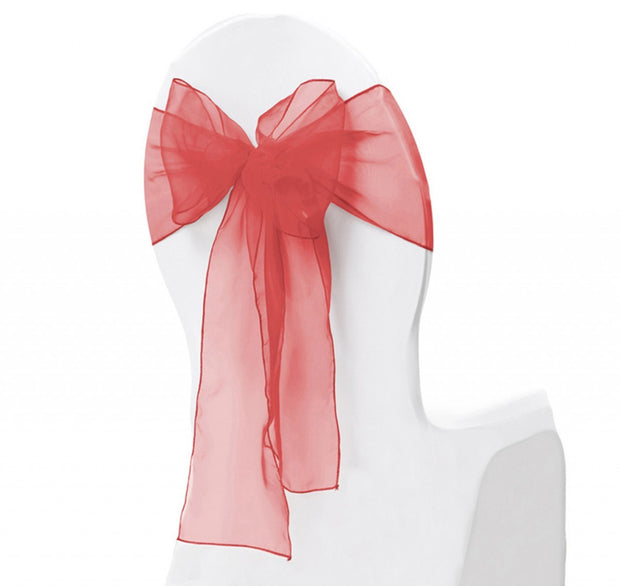 Organza Chair Sash oblique view - Red