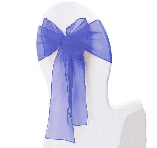 Organza Chair Sash oblique view - Royal Blue
