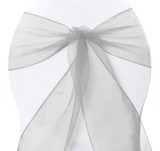 Organza Chair Sashes - Silver