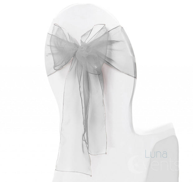 Organza Chair Sash oblique view - Silver