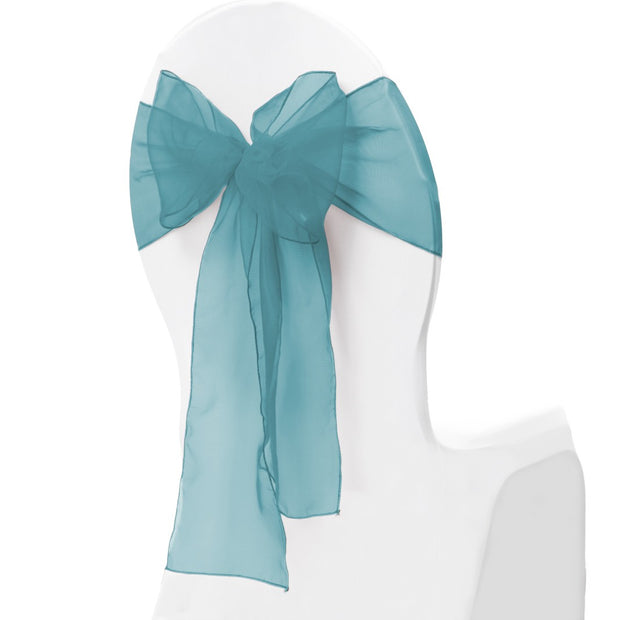 Organza Chair Sash oblique view - Teal