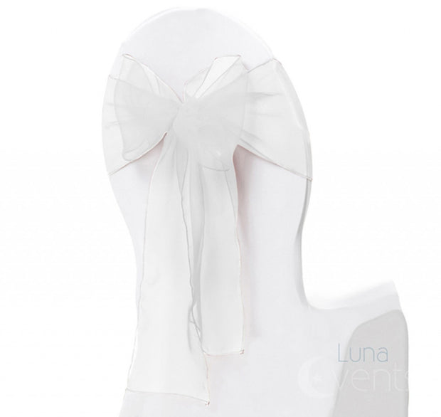 Organza Chair Sash oblique view - White