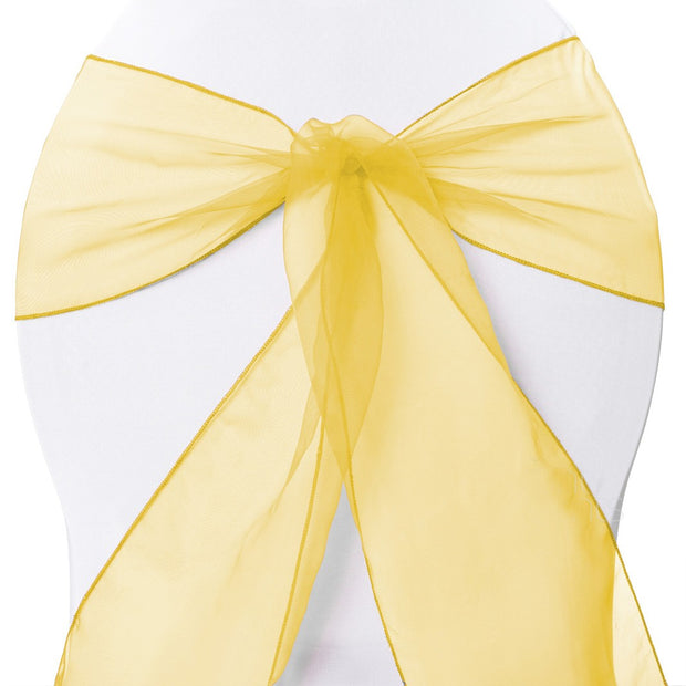 Organza Chair Sashes - Yellow
