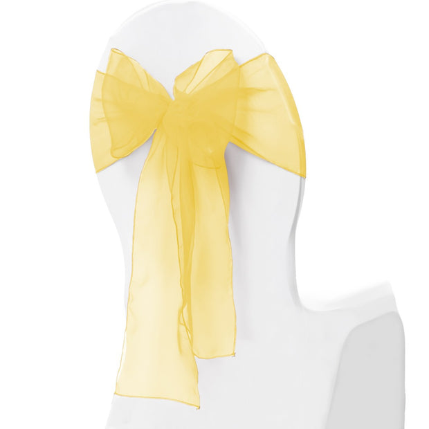 Organza Chair Sash oblique view - Yellow