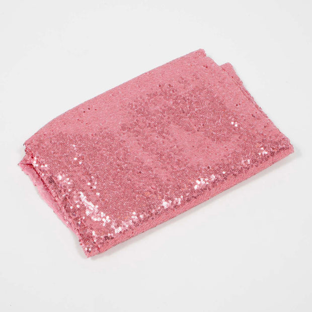 Light Pink Sequin Tablecloth 125x240cm Folded