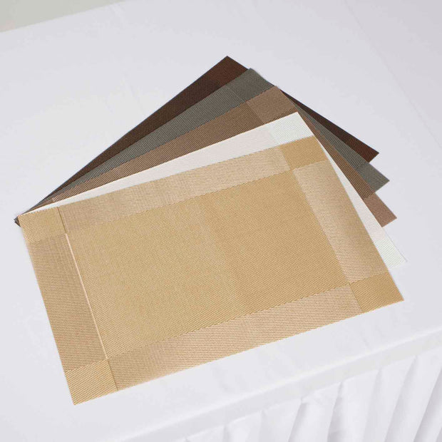 Woven PVC Placemats Gold Colour Range