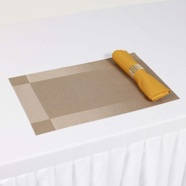 Woven PVC Placemat with Gold Napkin