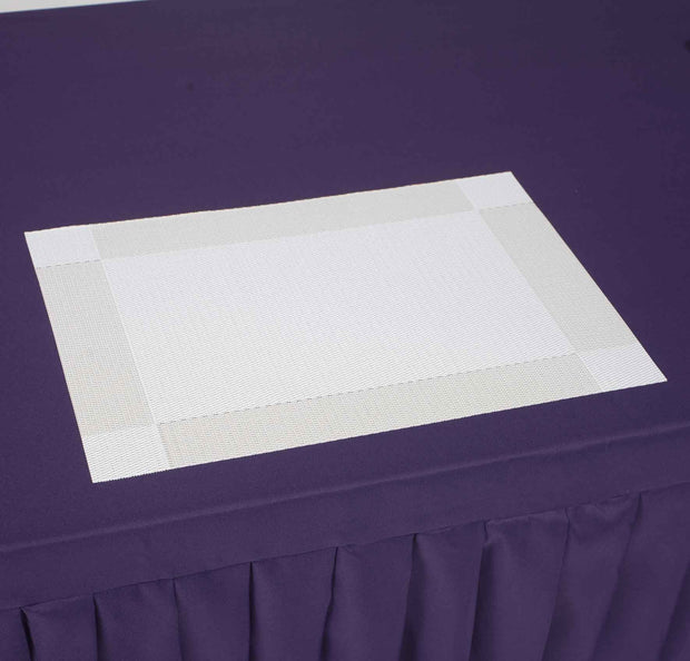 White Placemat on Purple Fitted Tablecloth