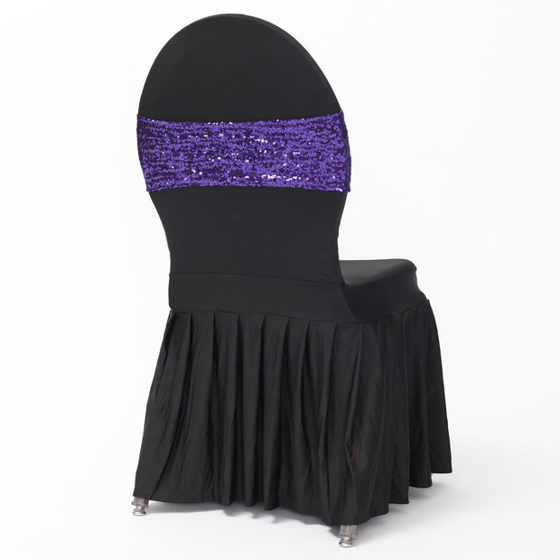 Purple Sequin Lycra Chair Band Sparkle Stretch