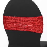 Red Sequin Lycra Chair Band Sparkle Stretch