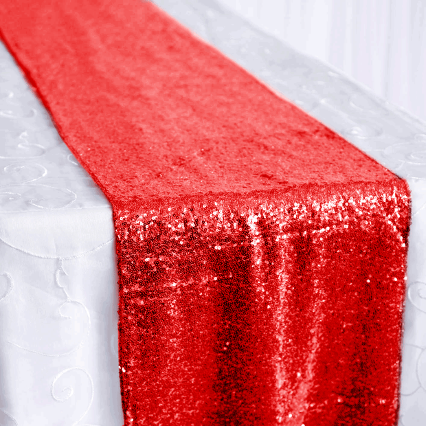 Sequin Table Runner - Red